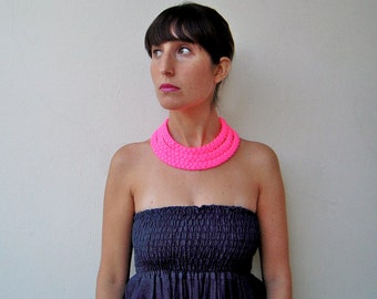 The triple braid necklace - handmade in neon pink fabric