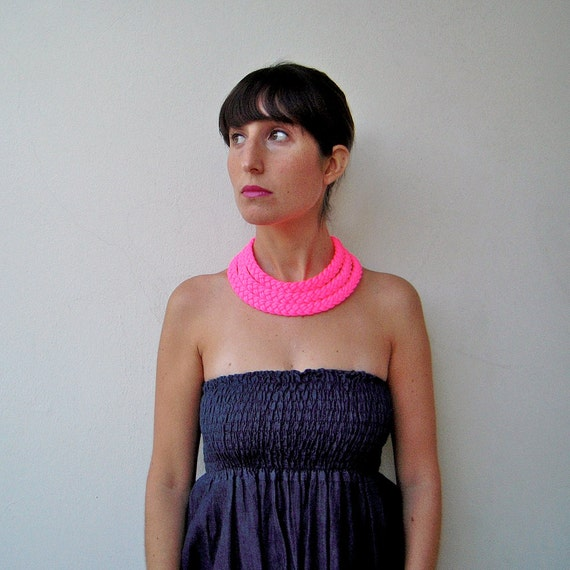EXTRA SALE - The triple braid necklace - handmade in neon pink fabric