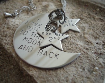 Birth Announcement Necklace - Love you to the Moon - Due Date Necklace - Personalized Expecting Mom Gift - Mom to Be Gift