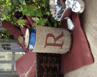 Personalized Rustic Burlap Beverage Insulator