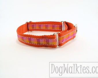 "Tangerine Plaid Dog Collar - 1"" (25mm) Wide - Choice of style and size - Side Release Buckle or Martingale Dog Collars // Pink // Yellow"