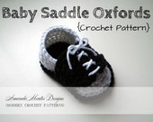 INSTANT Download - Baby Saddle Oxfords CROCHET PATTERN Baby Shoes Pdf File - 2 Sizes - Permission to sell finished item