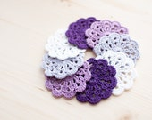 Set of 8 crochet flower appliques - White, Lavender, Lilac, Purple Birthday Party decoration Wedding Embellishment