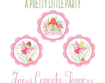 Fairy Cupcake Toppers - Pixie Cupcake Toppers -  Woodland fairy - Party Supplies - INSTANT DOWNLOAD