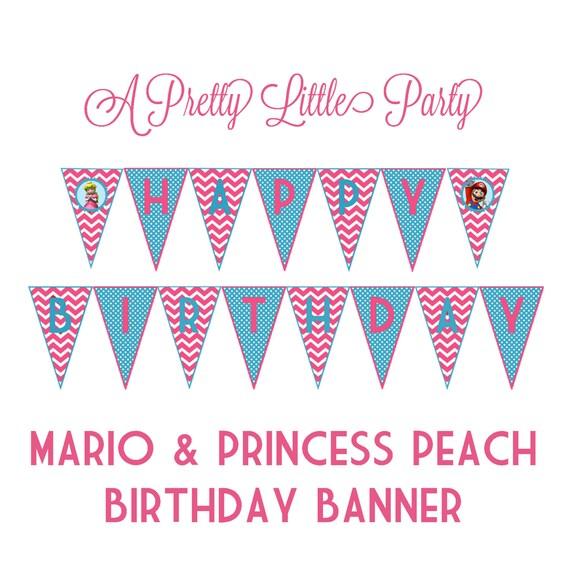 Princess Peach & Mario banner - Super Mario - Mario - Party Supplies - INSTANT DOWNLOAD