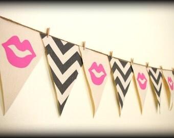 Party Banner-girl birthday-wedding shower-bridal shower banner-bunting-lips banner- Party Banner - Gray Chevron-Little Miss Party-
