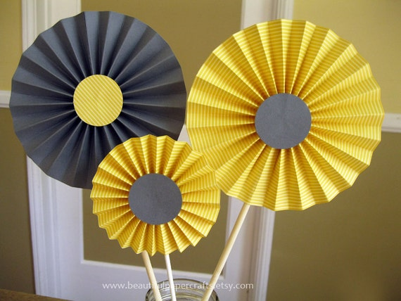 Gray And Yellow Rosette Centerpieces Wedding Table