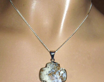 """Rough Opal Cross Shaped Pendant on 18""""/46cm Silver Plated Chain"""