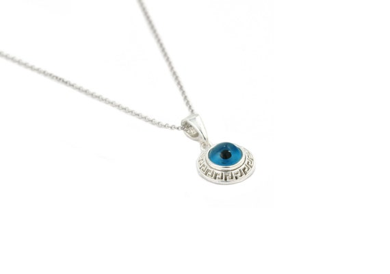 Free Domestic Shipping Sterling Silver Greca Evil Eye Necklace