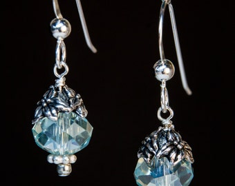 Pale Blue Crystal and Jasmine Flower earrings on sterling silver