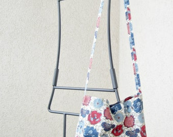 Ultra light summer CROSS-BODY BAG - genuine Liberty of London: Lucy Daisy, red and blue