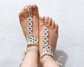 Barefoot sandles, Ivory Nude shoes, lace up sandals, Wedding Sandals, Sexy, Yoga, Anklet , Bellydance, Steampunk, Beach Wedding
