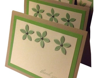 Thank You Cards, blank thank you notes, hand made note cards, handmade thank you notes, handmade cards, blank notes, tan and green notecards