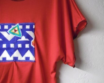 Funky Red Striped Batwing Crop Shirt/ Tribal Half Shirt Blouse Womens Tops S/M