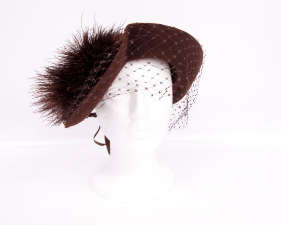 Vintage Brown Wool Hat French Room New York Creation 1940s Ostrich Feathers Silk Fascinator Mad Men