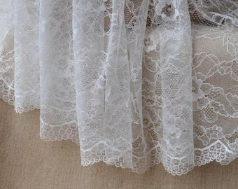 White Thin Silky,lace fabric,Embroidery,Wedding, Off White,Bridal,Polyester Mesh,Cotton stretch Fabric(W28)