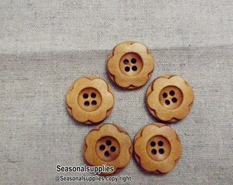 zakka Buttons,Flower Wooden buttons,Nature Style,Round,18mm Diameter -(4 in a set)(FN74)