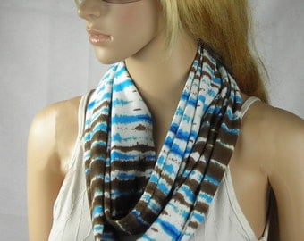 Circle Scarf - Infinity Scarf - Loop Scarf - Cowl Scarf - Long Scarf -  scarf with stripes white - brown - blue