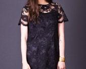 RESERVED SALE 50% OFF 80s Vintage Black Lace Shift Dress