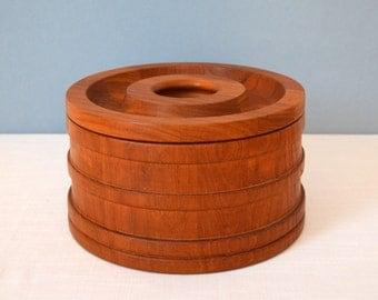 Vintage Dansk Staved Teak Ice Bucket  Designed by Jens Quistgaard