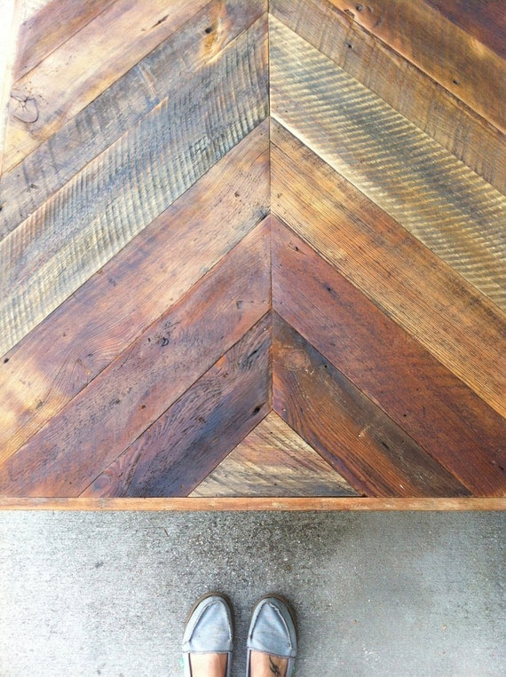 Reclaimed Barn Wooden Coffee Table Chevron By Triple7recycled