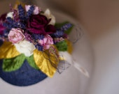 RESERVED for JEMonty: The Montgomery Fascinator - natural dried rose, lavender, and heather with millinery leaves