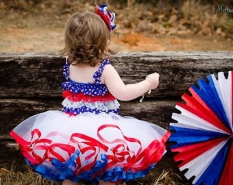 Red White Blue Ribbon Trim Tutu INDEPENDENCE DAY american girl 4th of July