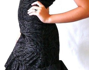 Deco Gatsby Vintage Burnout frill Bandeau ruffle frill back Cocktail Dress Black baroque like swirls strapless small prom. 'WA Street Team'