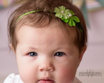 Newborn Elastic Headband with Green Flowers Accented with Pearls - Newborn to 6 months
