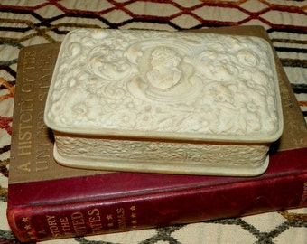 Trinket Box Jewelry Box Early Incolay Ladies Rosebud Box with Cameo & Original Info Sheet