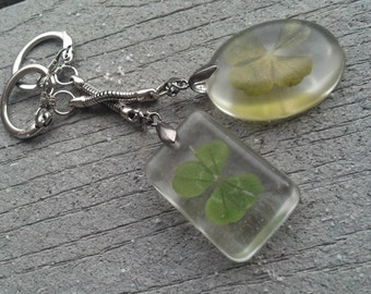 Good Luck Keychain with Real 4-Leaf Clover