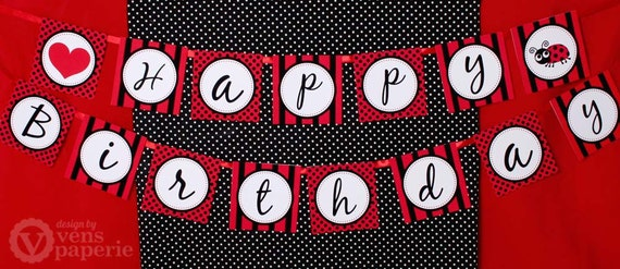 Red Lady Bug Birthday Party DIY PRINTABLE Happy Birthday Banner