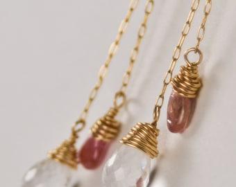 Dangle Gold Earrings- 14 Kt Gold Earrings- Gold Chain Earrings- Crystal Quartz Earrings- Tourmaline Earrings- Handmade 14Kt Gold Earrings