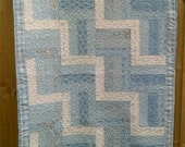 Baby Quilt vintage style blues and creams 35 x 54 UK
