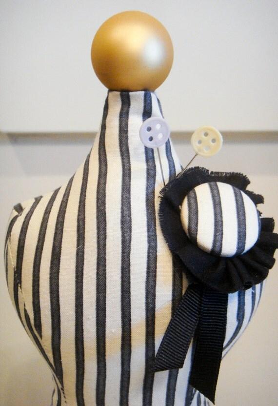 Black & White Striped Mannequin Pincushion