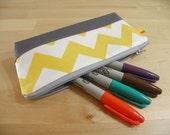 SALE Pencil Case, Zipper Pouch, Small Cosmetic Bag in Bright Yellow Chevron - back to school