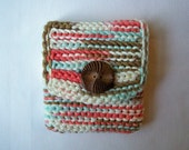 Coral, Brown, White, Blue Crochet Jewelry Pouch With a Vintage Button