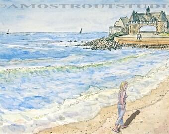 Fine art girl at Narragansett beach signed art print landscape beach New England summer artwork walking painting Rhode Island Giclee  8.5x11