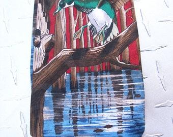 BKool Vintage Necktie, Ducks Over Water, Red n Blue, Reed St James, Mens Ties