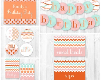 Birthday Party Package. DIY Birthday Party Printables. Birthday Party Decorations.