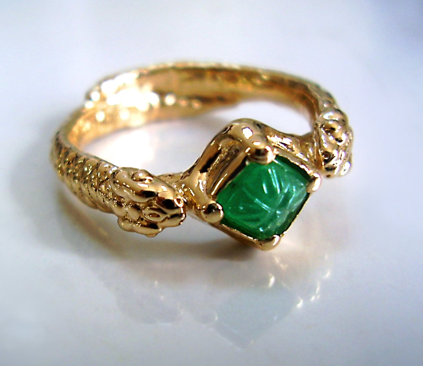 Emerald Snake Ring With Carved Natural Green Emerald Solid