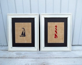 Nautical Decor / Nautical Nursery Wall Art / YOU CHOOSE Set of Two Burlap Art Prints / Lighthouse / Sailboat / Anchor