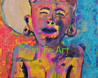 "SALE Abstract Mayan Sun Spirits Art, Minimalist, Mexican art , naive, original painting on paper 19"" x 25"" home decor"
