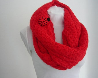 Chunky Infinity Scarf , Loop Scarf,  Circle Scarf, Long Scarf, Cowl Scarf, Red Scarf with Crochet Ladybug Brooch