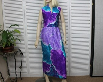Vintage 1960s Long Sleeveless Purple and Green Dress Size 8 Kiyomi Hawaii