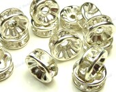 8mm Silver Plated Brass Clear Rhinestone Metal Beads - 20pcs - Spacers, Flat Round Rondelles - BH1
