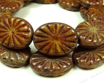 18x14mm Sienna Brown Chunky Carved Oval Picasso Czech Glass Beads - 4pcs - BE44
