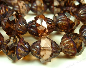 11x10mm Peach Picasso Antique Style Czech Glass Beads - 6pcs - Turbines, Faceted, Oval - BD44