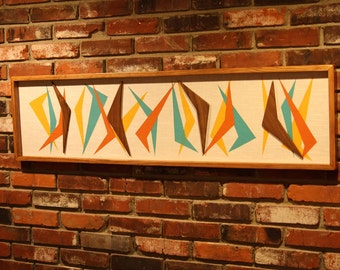 Mid Century Modern Witco Abstract Wall Art Sculpture Painting Tiki Retro Eames Era Boomerang Mad Men
