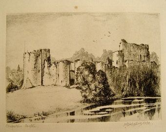 1930s Etching Sketch of Chepstow Castle Wales by W Dinlalive Original 1939 Date & Signed